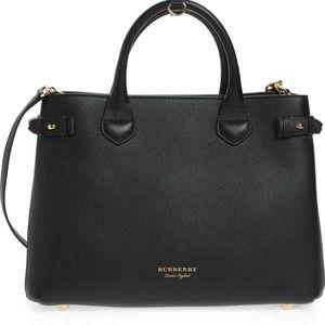 Burberry Medium Banner House Check Leather Handbag